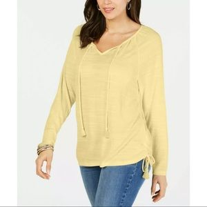 New Style & Co yellow peasant tie top blouse shirt